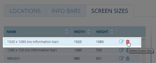 Delete screen size